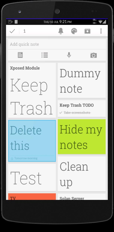 google -  [MOD] [Xposed] Udržujte Trash [v1.1]Google keep Screenshot_2014-07-10-21-21-05
