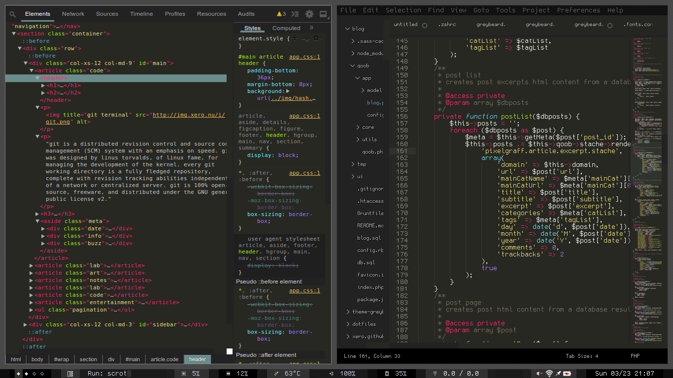 greybeard devtools and sublime screenshot