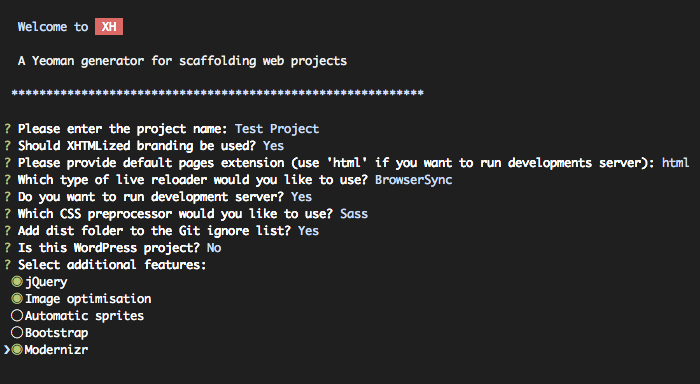Project scaffolding