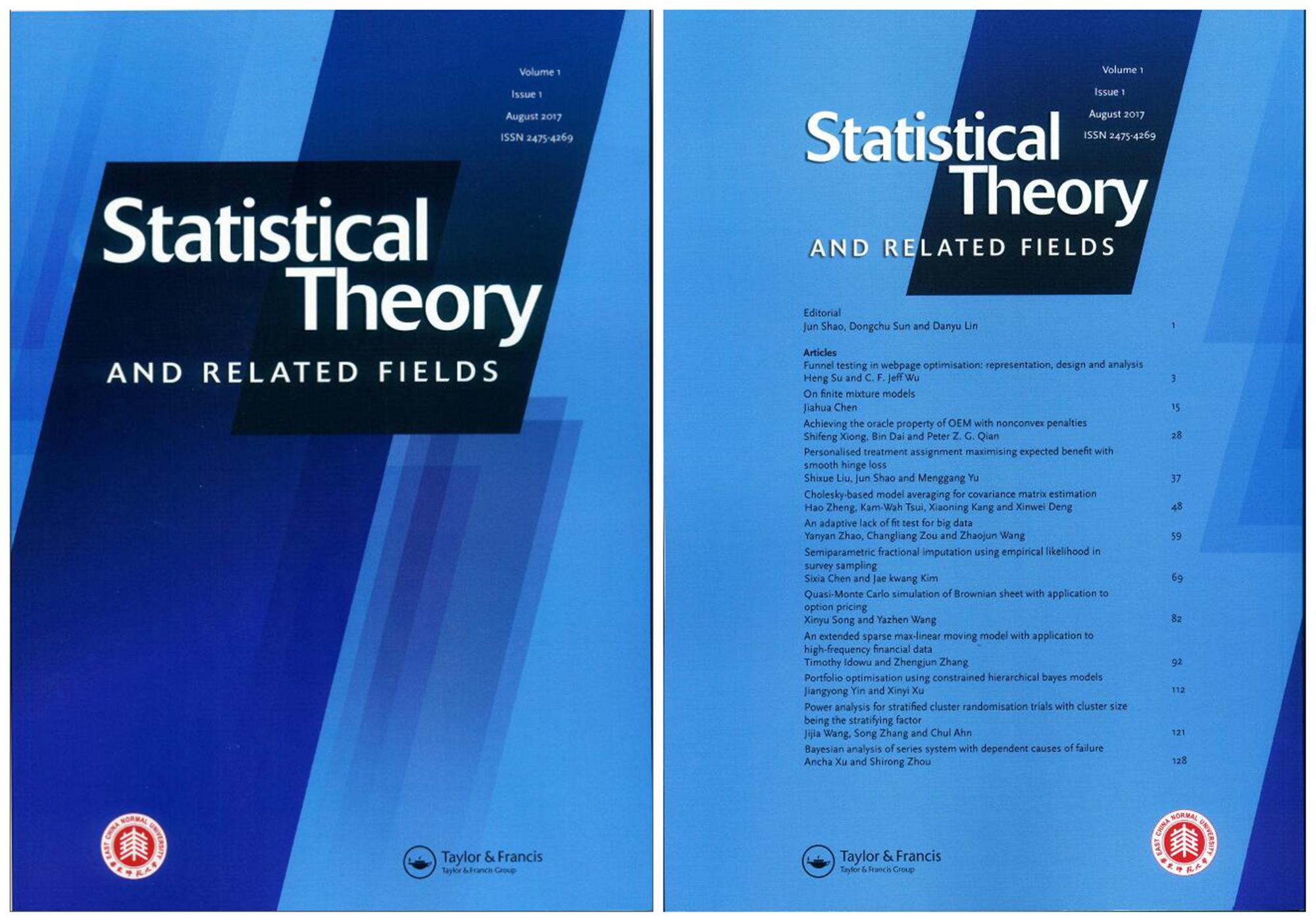 图6,Statistical Theory and Related Fields 杂志封面