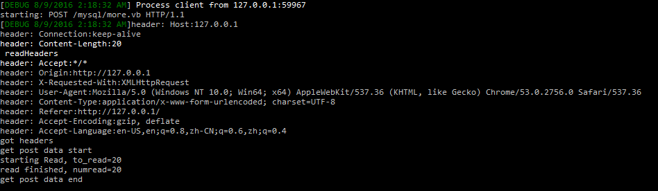 httpd server console output for this test jquery post load more