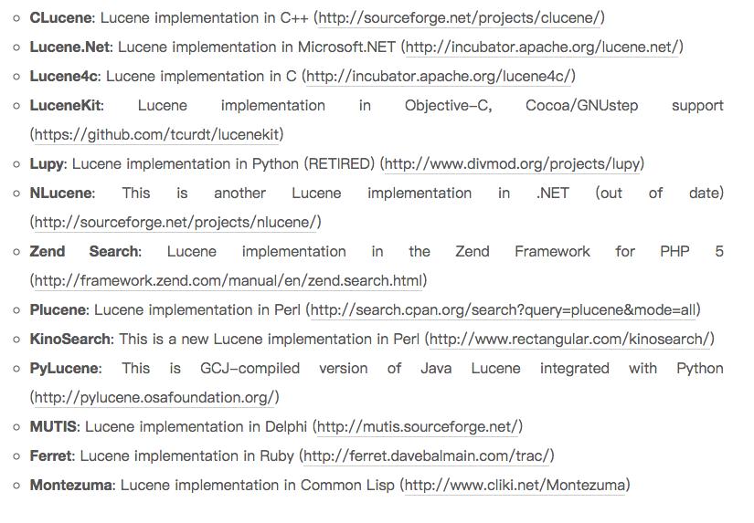 各种语言实现的 Lucene 框架