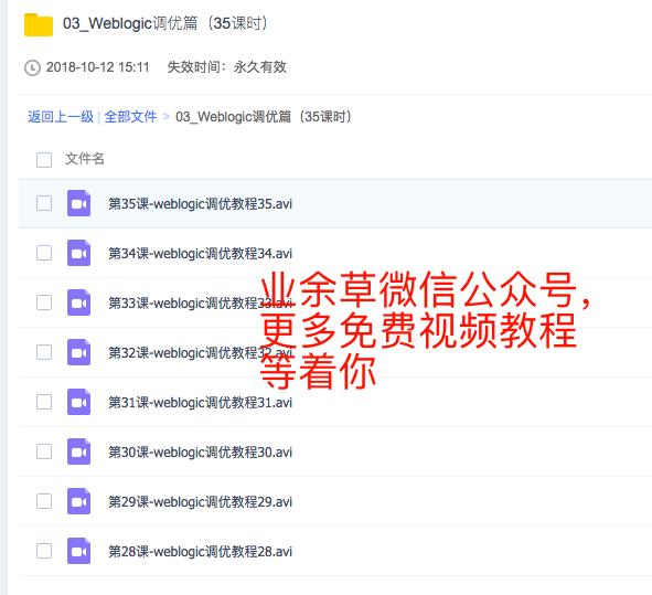 Weblogic调优篇视频教程免费下载