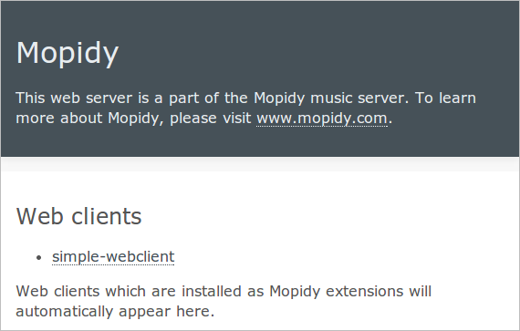 Mopidy webserver start screen.