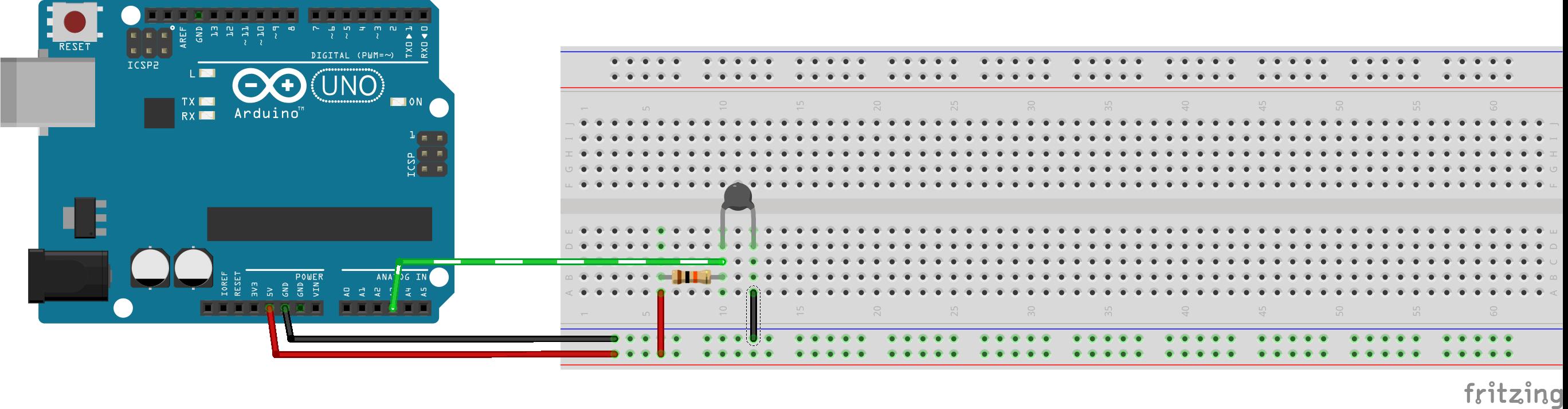 Vcc on resistor