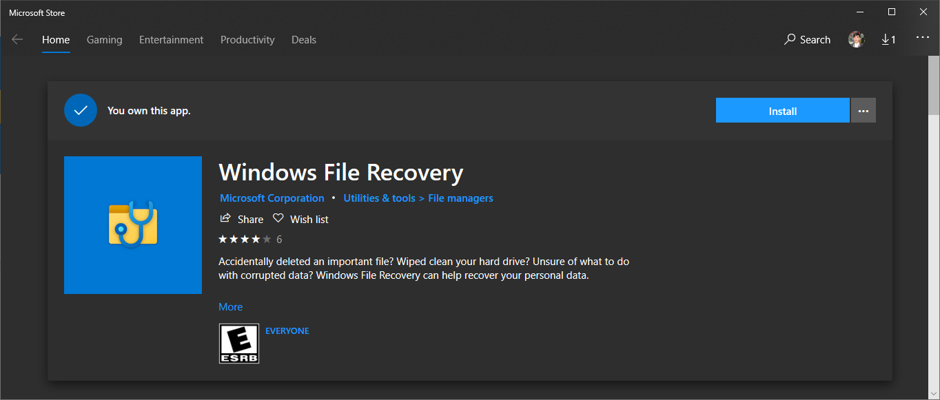 install windows file restore