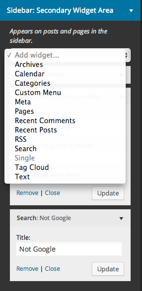 Widgets can be added in sidebar sections; widgets get added to the top, and can be dragged into the desired location
