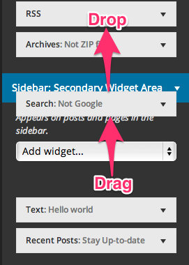 Widgets are be rearranged by drag-and-drop, and widgets can be assigned to other sidebars by dragging them over
