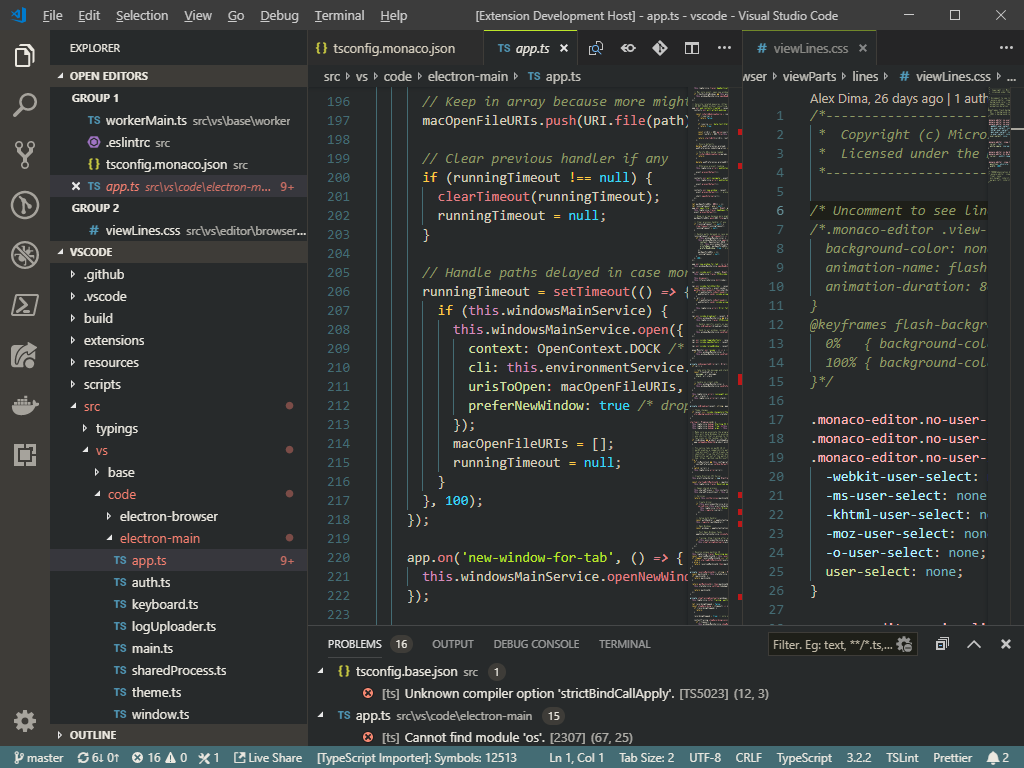VSCode with Bombyx Dark theme