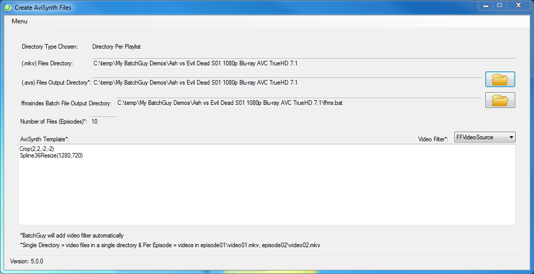 BatchGuy Create AviSynth Files Screen