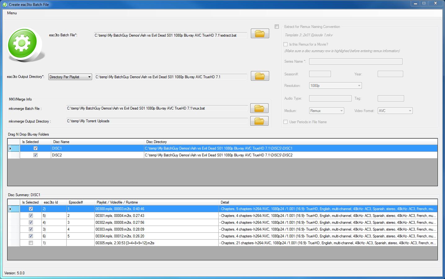 BatchGuy Create eac3to Batch File Screen