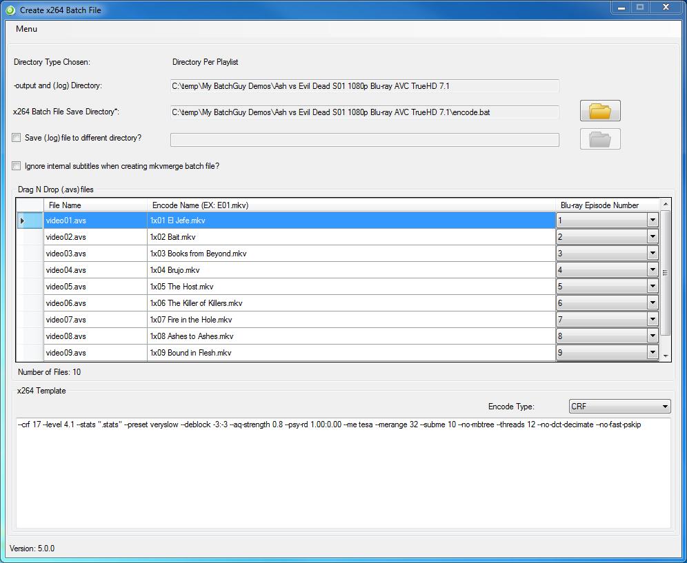 BatchGuy Create x264 Batch File Screen