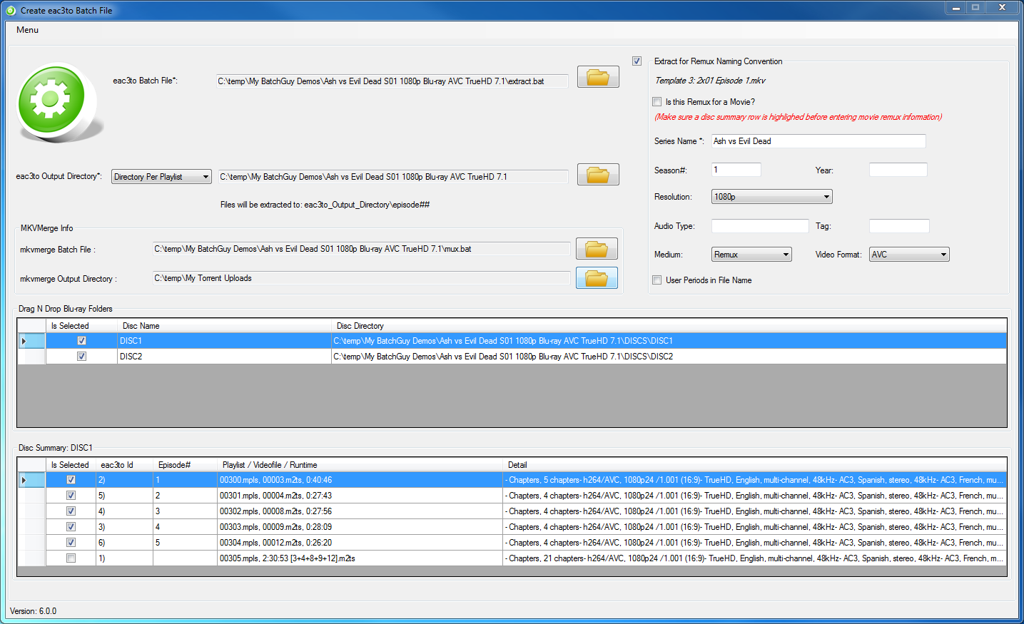Create eac3to Batch File Screen