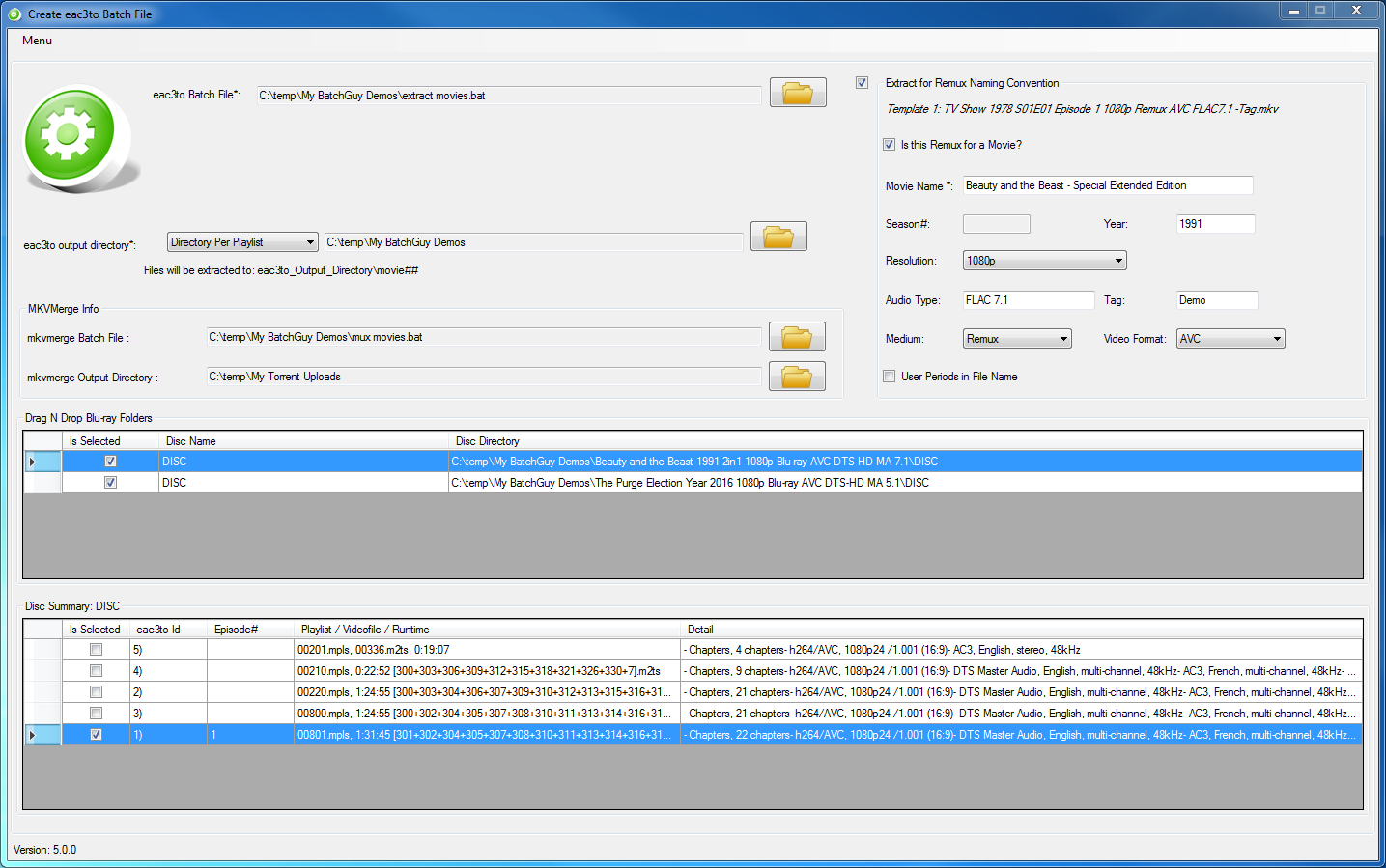 Create eac3to Batch File Screen - Movie 1