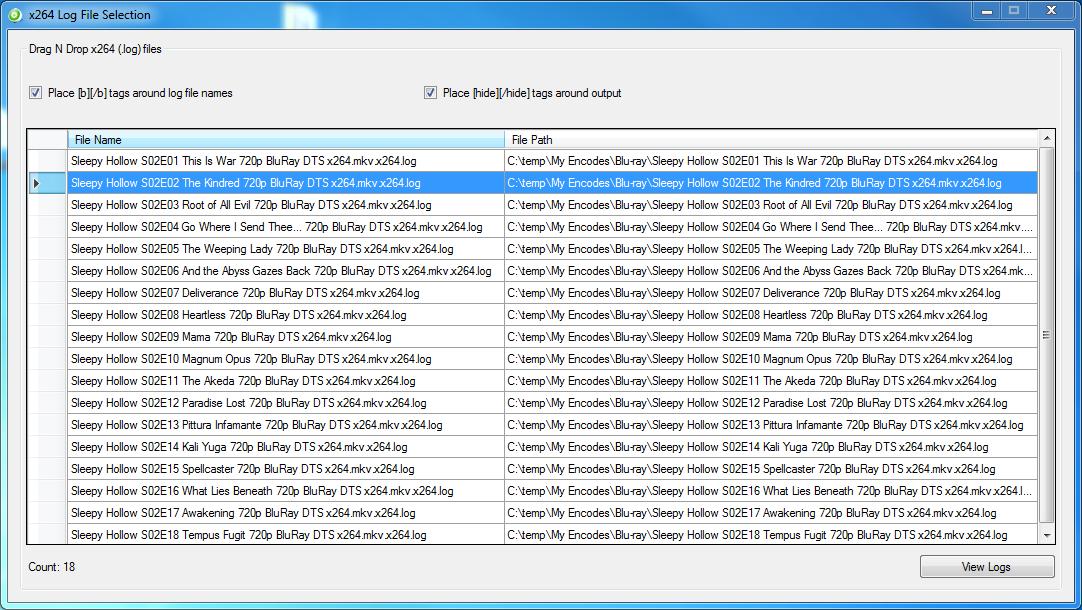 BatchGuy x264 Log File Selection Screen