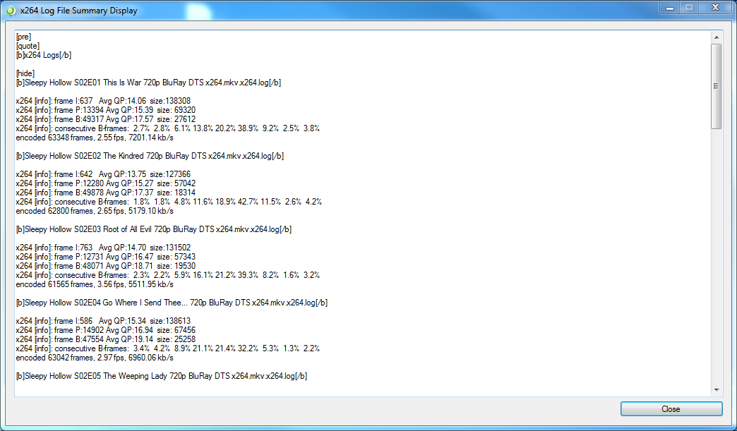 BatchGuy x264 Log File Summary Display Screen