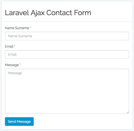 Laravel Ajax Contact Form