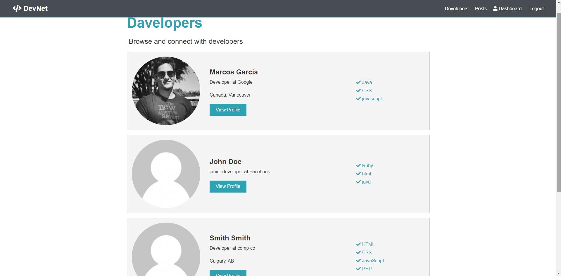 Web App developers Page