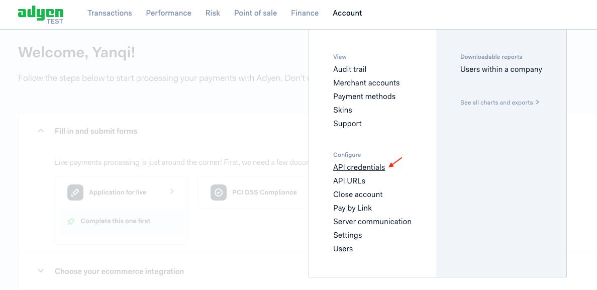 Adyen-API credentials