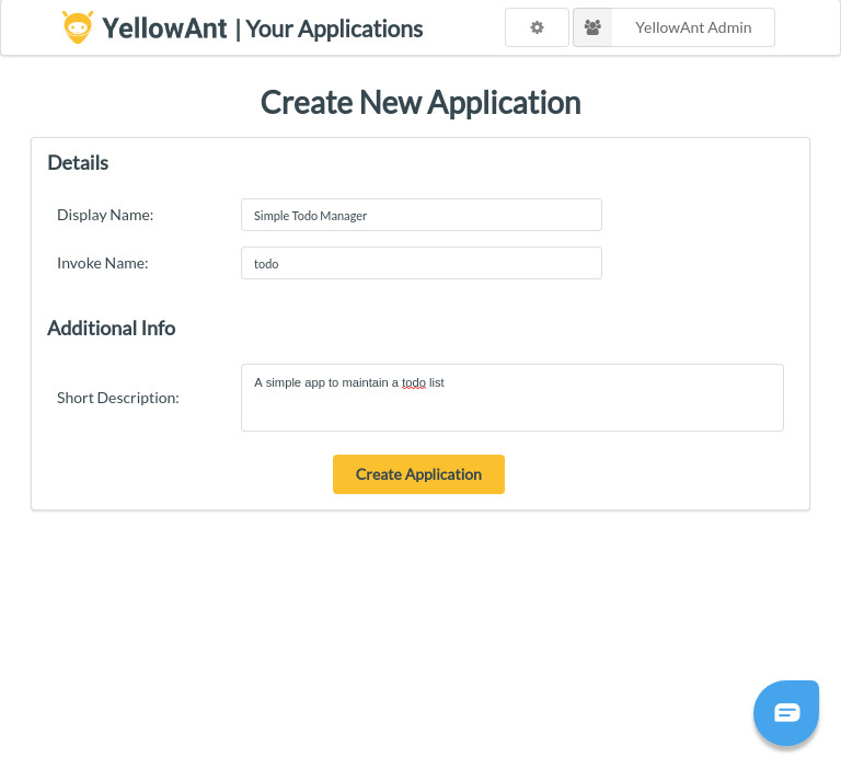 YellowAnt Create New App