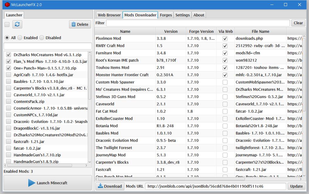 Mods Downloader tab