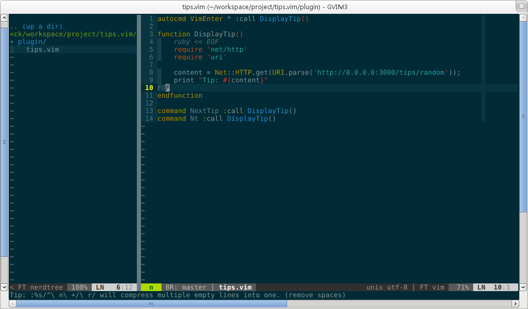 Vim tips screenshot