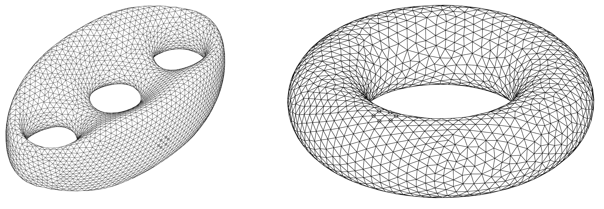 Different gluing of triangles form different topology