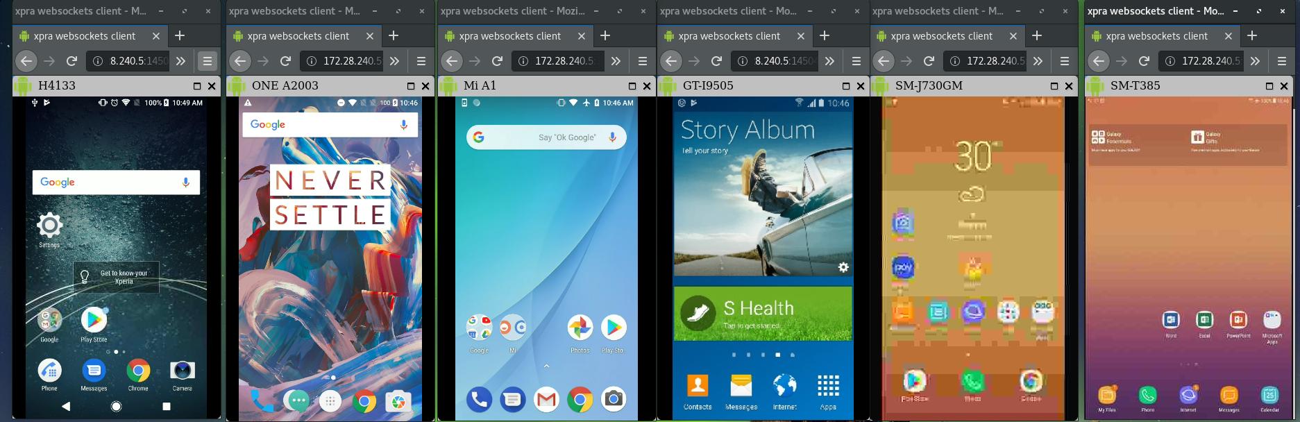 Screenshot of multiple devices displayed on web brpwser