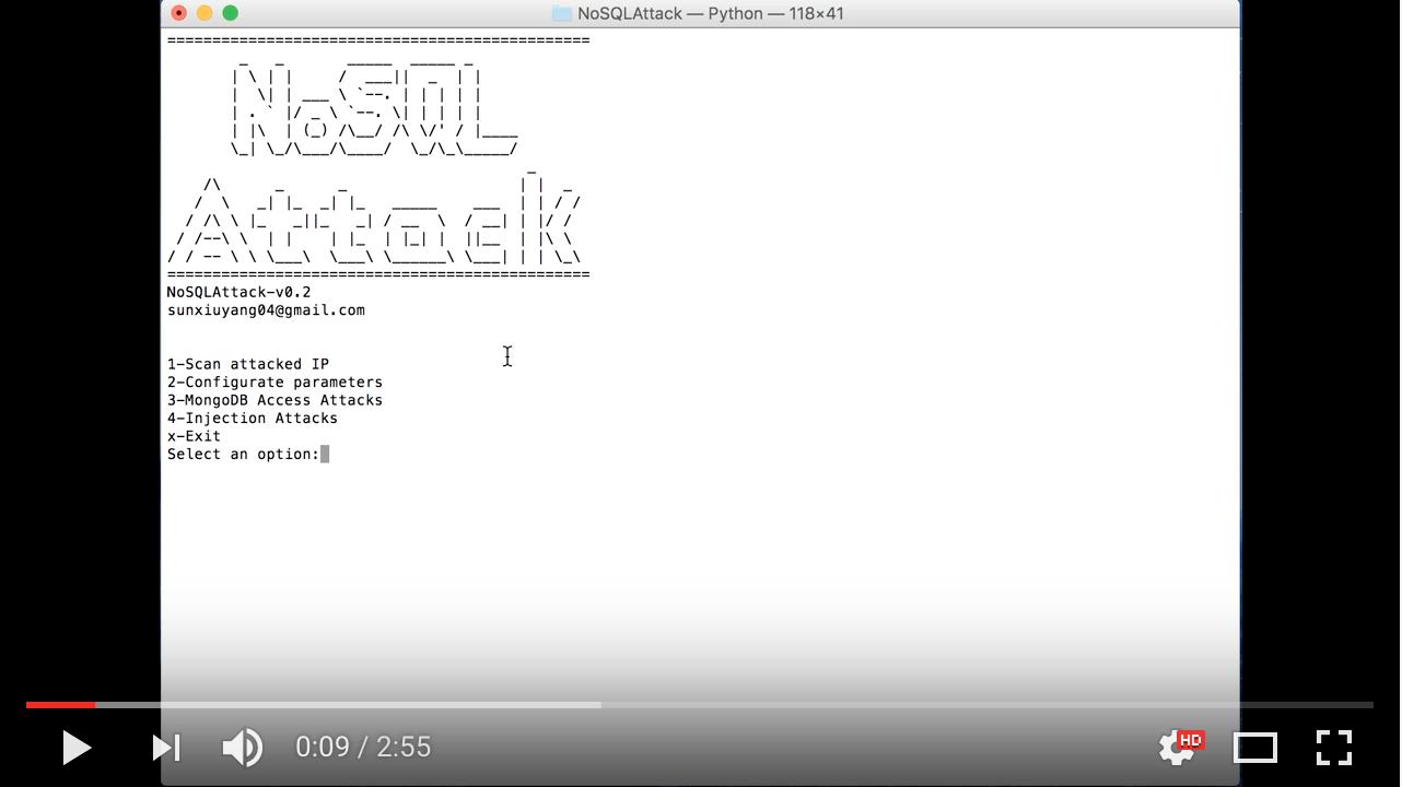 NoSQLAttack MongoDB default configuration Attacks demo