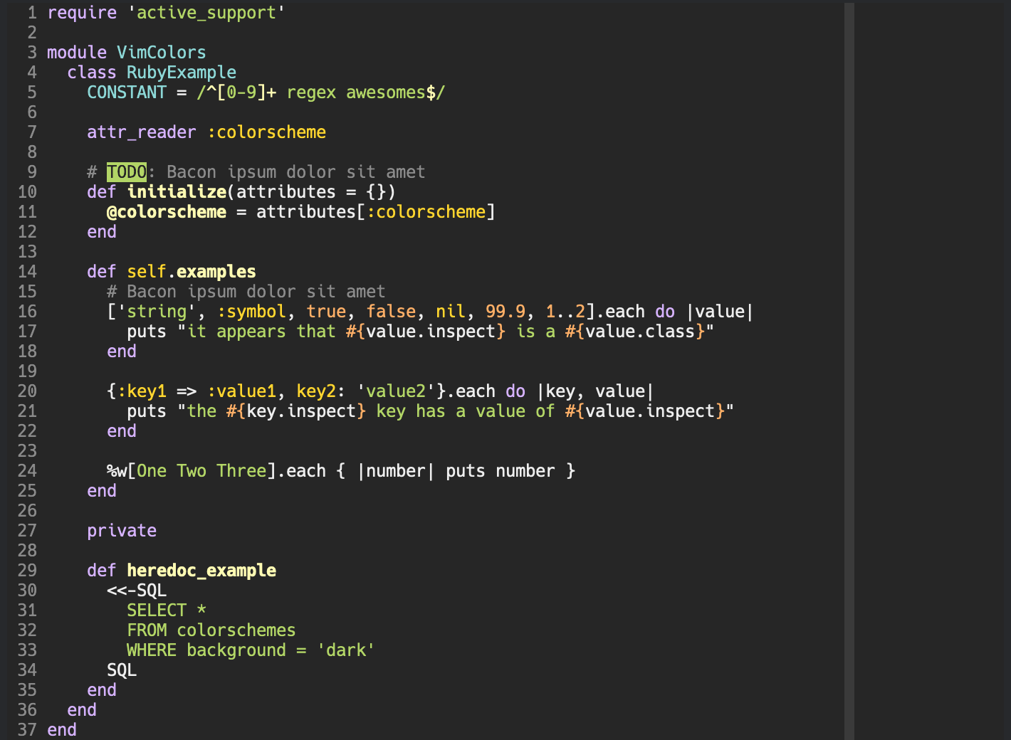 open-color.vim with dark background in 256 colors