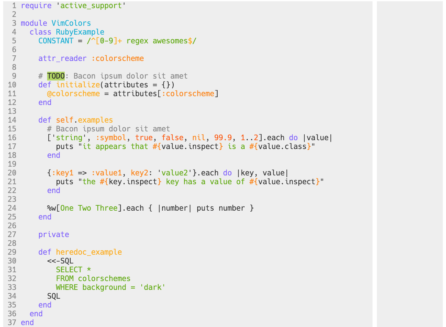 open-color.vim with light background in 256 colors