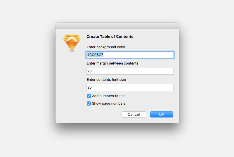 Table of Contents Sketch Plugin