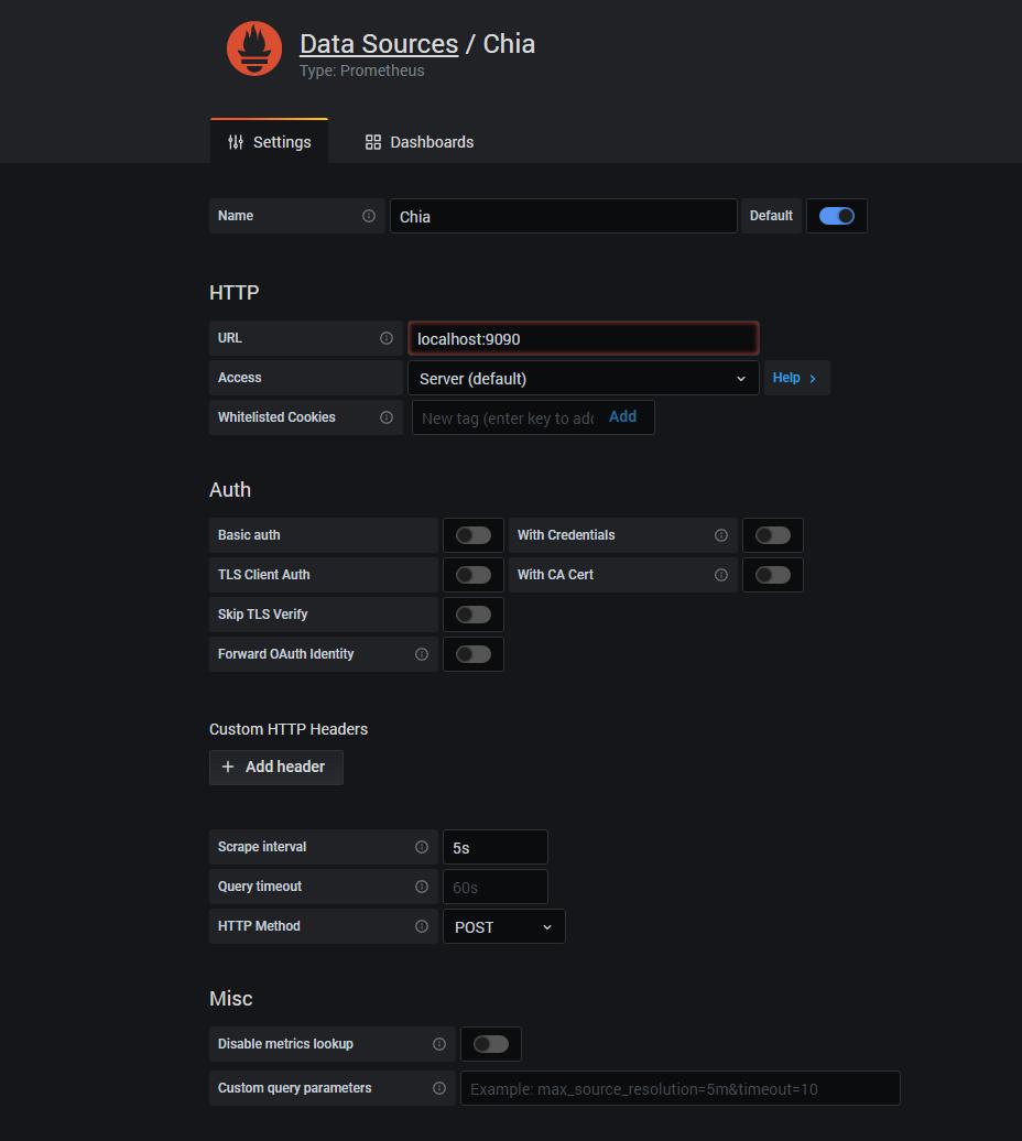 Screenshot of the datasource