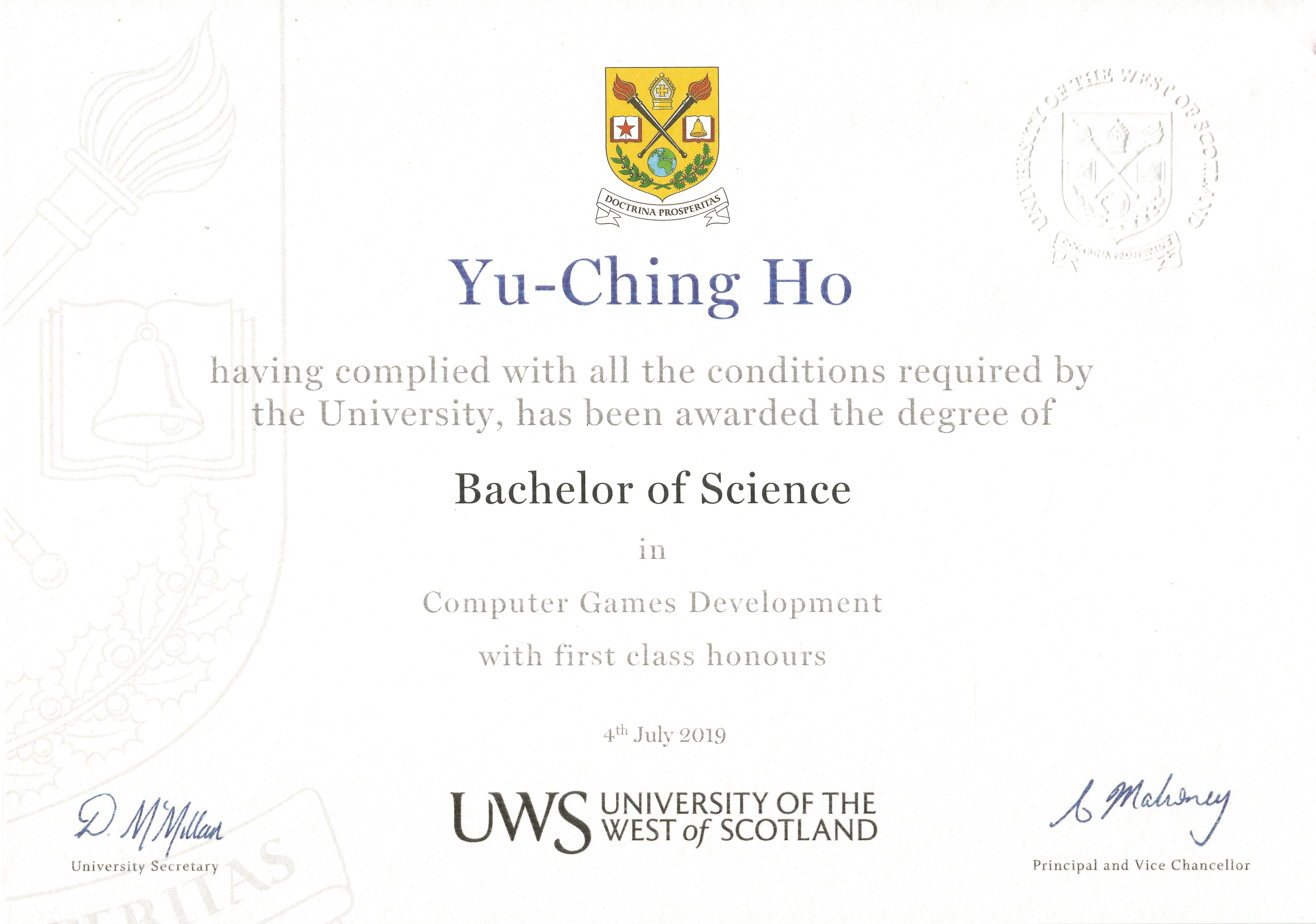 Certificate First Class Honours