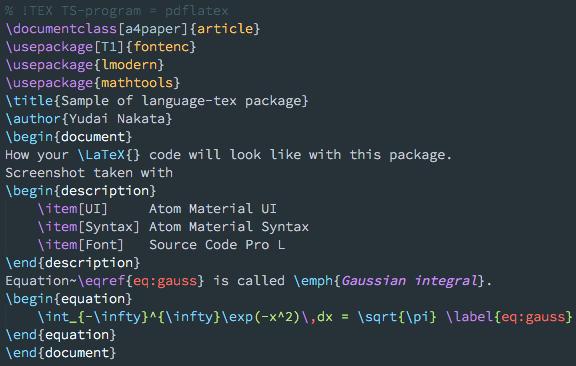 sample of language-tex package