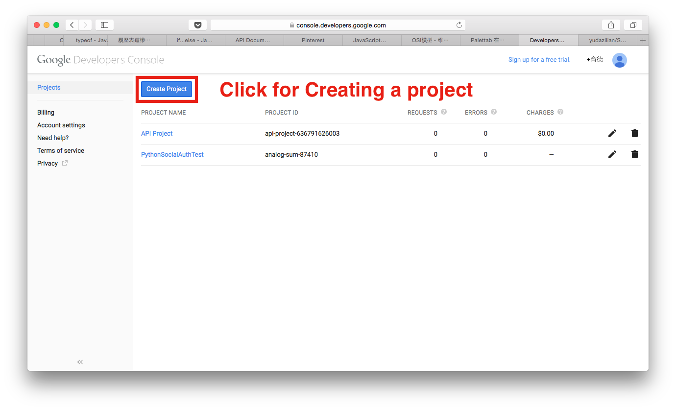 Google App Projects Application Page