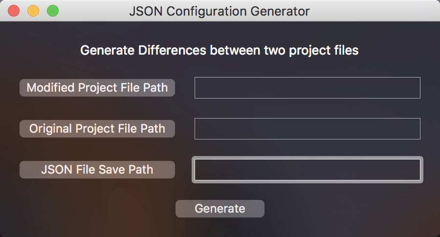 JSON Configuration Generator Window