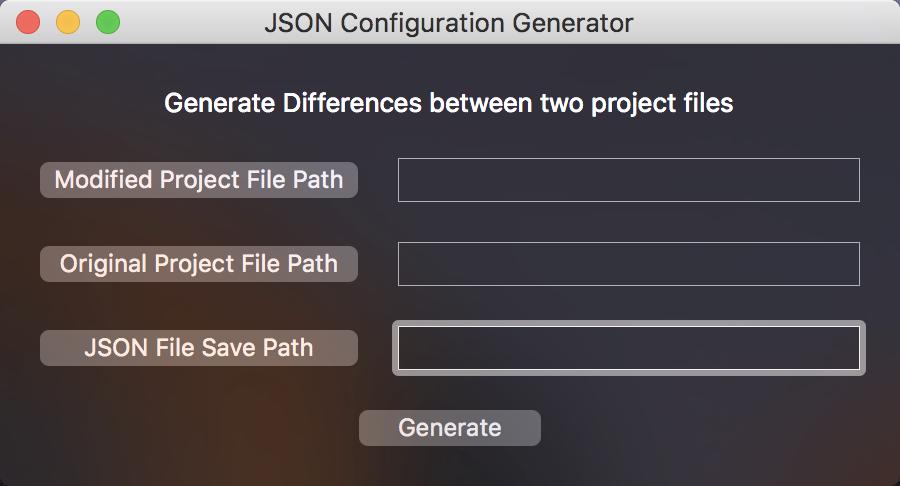 JSON Configuration Generator Window