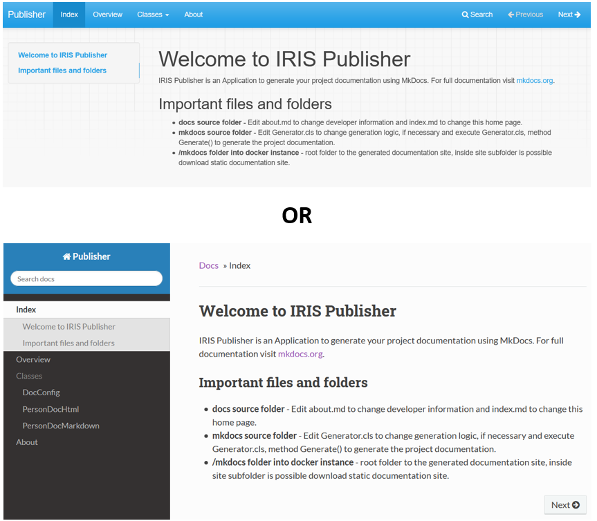 IRIS Publisher themes
