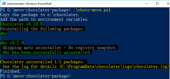 Move Chocolatey package with PowerShell