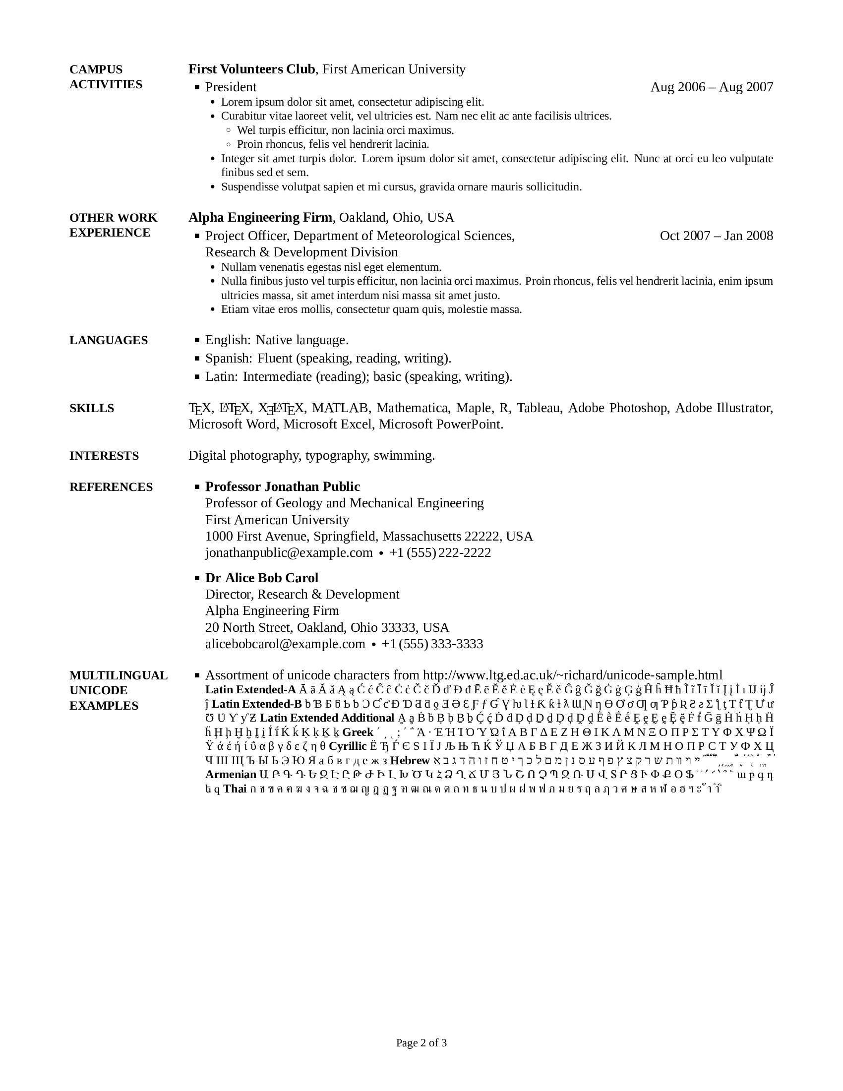 Cv Simple Doc Sample Cv Layout General Cv Template Cv Templat Cv Un