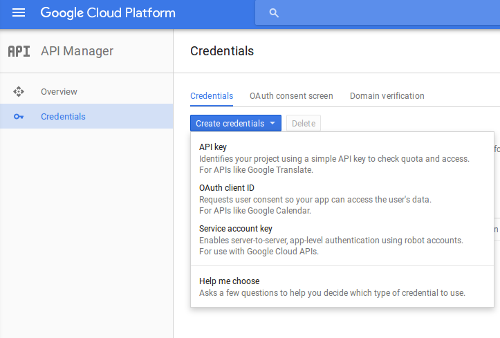 Picture of Google Cloud Console showing API Manager