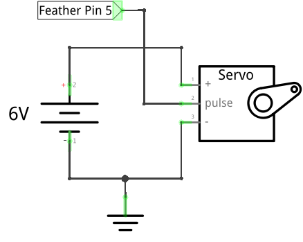 Servo signal on pin 5, using 6V battery pack for power