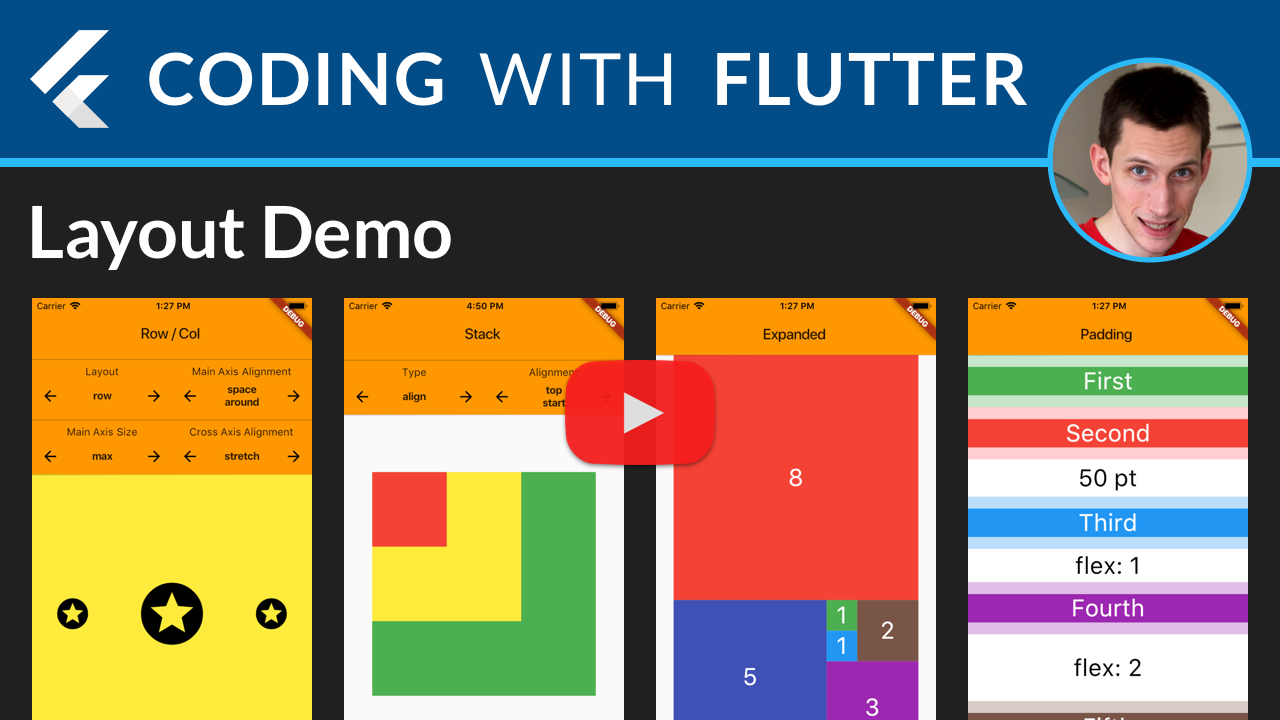 Flutter Layouts: Row, Column, Stack, Expanded, Padding