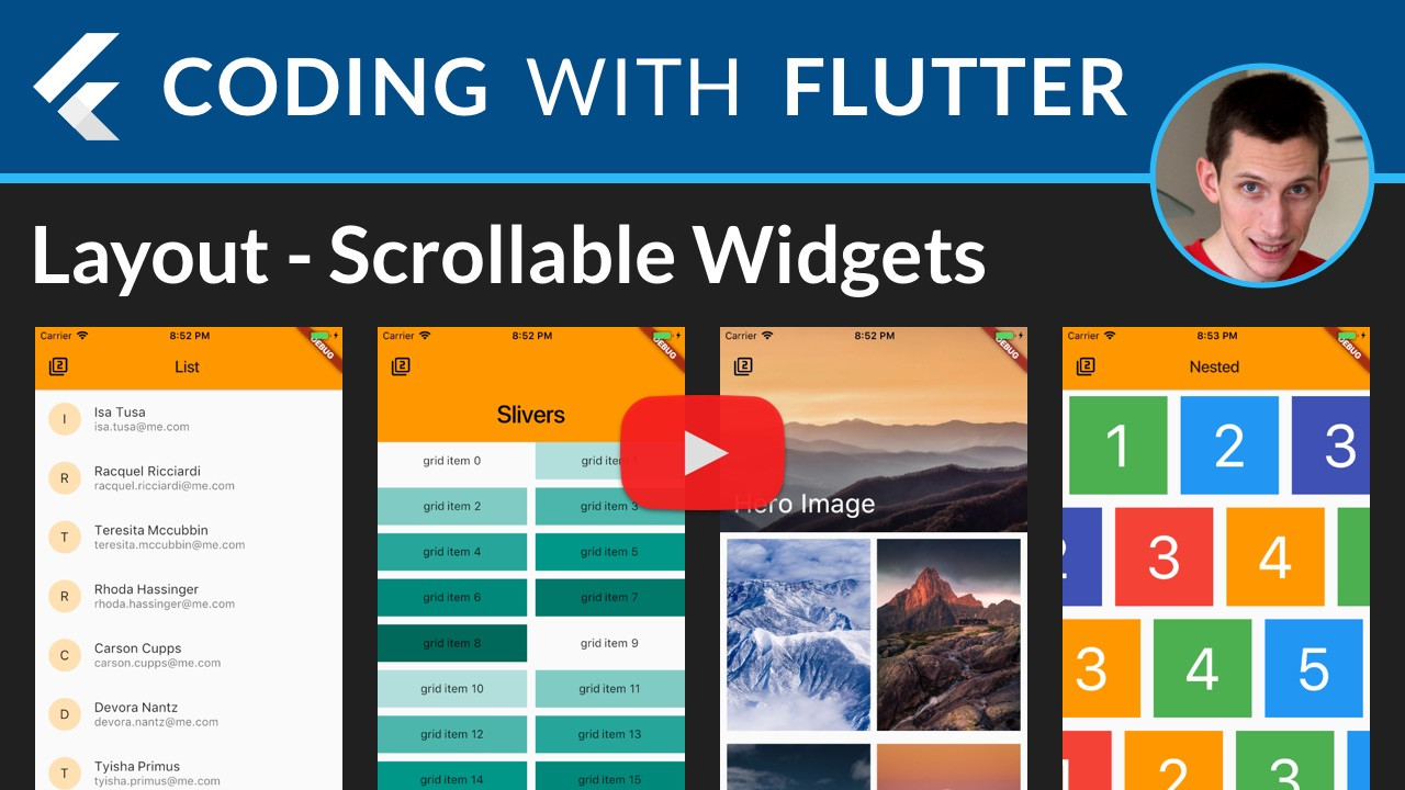 Flutter Layouts: PageView, ListView, GridView, Slivers, Hero Imaegs