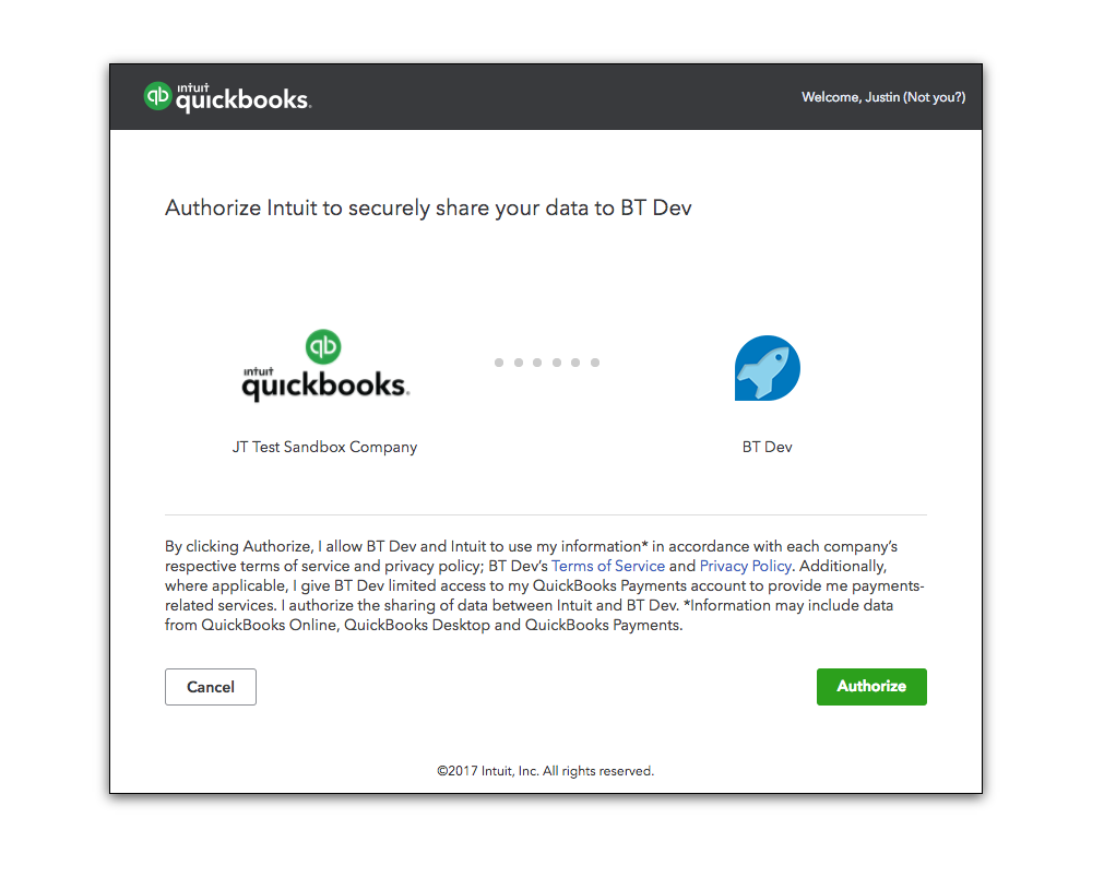 After settings are saved, OAuth authorization begins with the QuickBooks server.