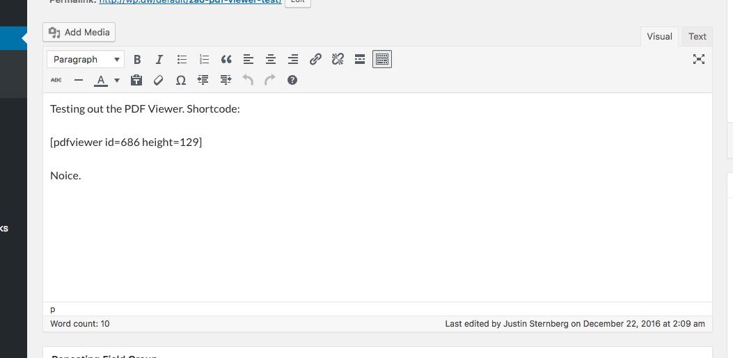 admin shortcode