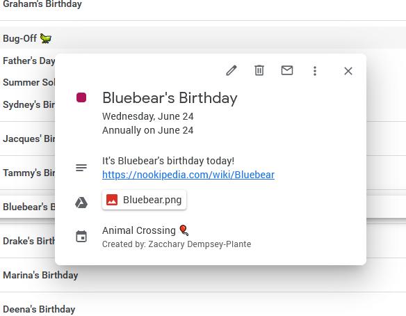 A screenshot of Bluebear's birthday on June 24th