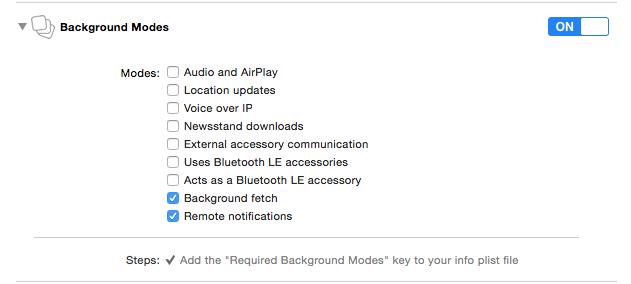 Push Notifications Setup Background Modes
