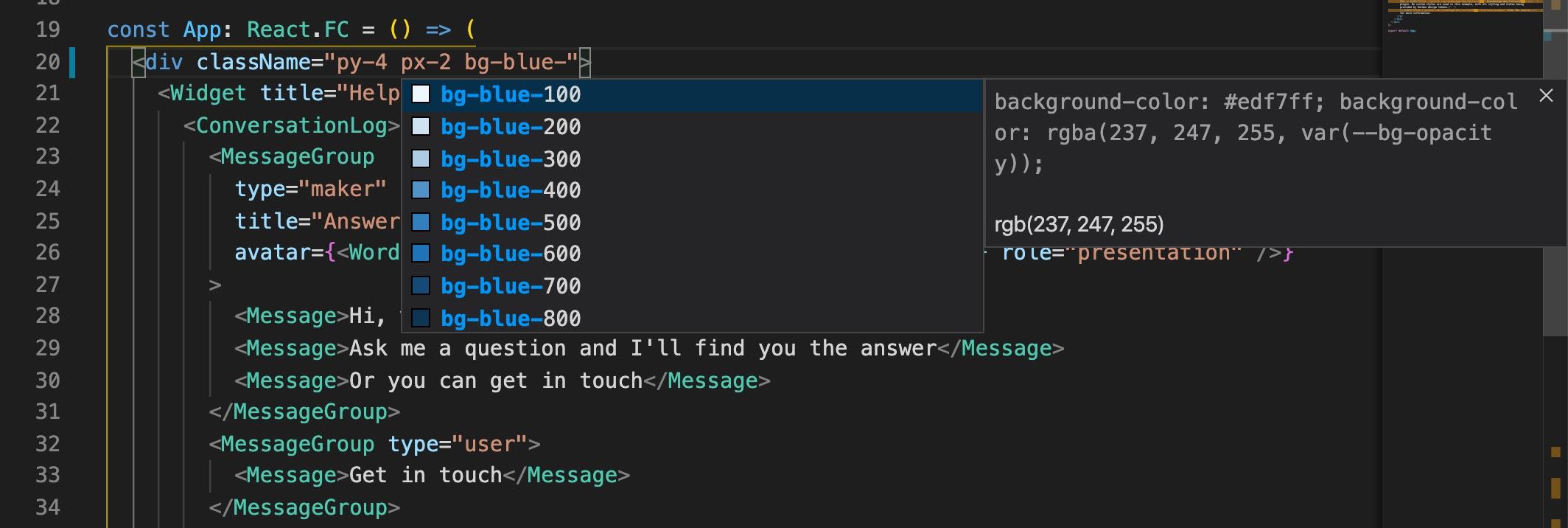 Tailwind CSS IntelliSense plugin example